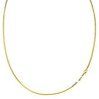 Round Omega Chain Necklace With Screw Off Lock In 14k Yellow Gold - Width 1mm