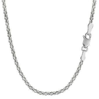 Sterling Silver Rhodium Plated Fancy Popcorn Rope Chain Necklace, 1,8mm