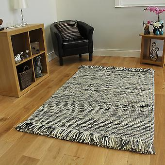 Charcoal Grey Modern Wool Rug Valencia