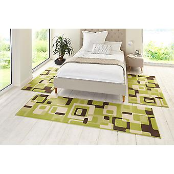 Design bed set retro green/brown/cream 3teilig