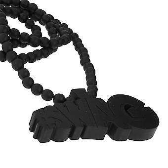 Wood style Bead Necklace - SWAG black