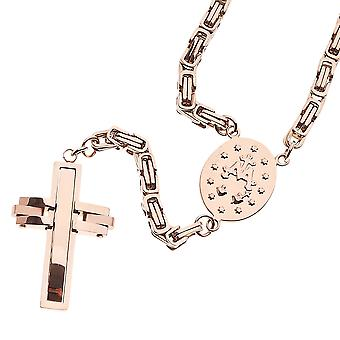 Iced out stainless steel Rosary Rosary necklace - BYZANTIN rose