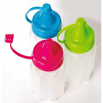 Sistema To Go Mini Sauce Bottles, Set of 3 with Coloured Lids
