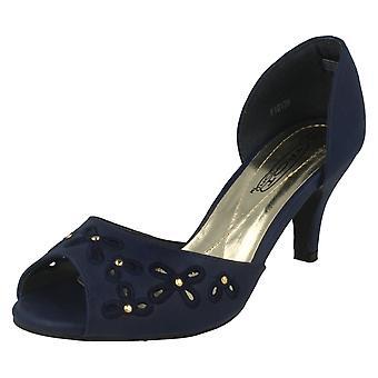 Womens Spot On Peep Toe Slip On Court Shoe F10139