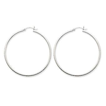 Extra Large Hoop Earrings in 14K White Gold 2 Inch (2.00 mm)