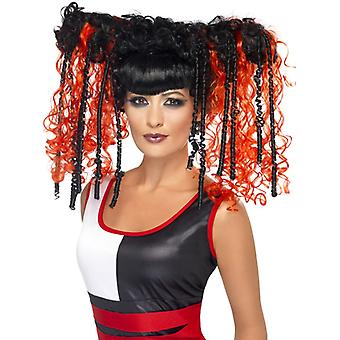 Goth emo wig red ladies Halloween Jackie in a box