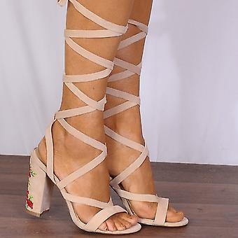 Shoe Closet Nude Lace Up Heels - Ladies Pia5 Nude Lace Ups Embroidered Strappy Sandals High Heels