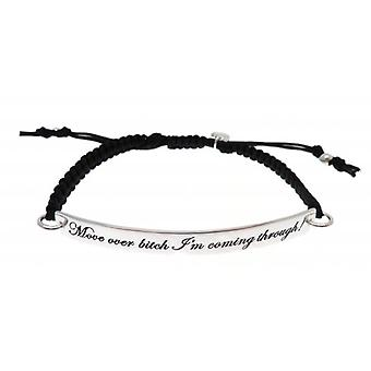 W.A.T Black Macrame Cord 'Move Over Bitch I'm Coming Through' Quote Bracelet