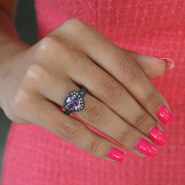 W.A.T Mauve CZ And Blue Crystal Dress Ring