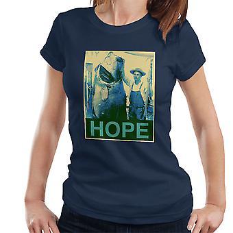 Hoffe Angeln Shepherd Fairey Style Big Fish Damen T-Shirt