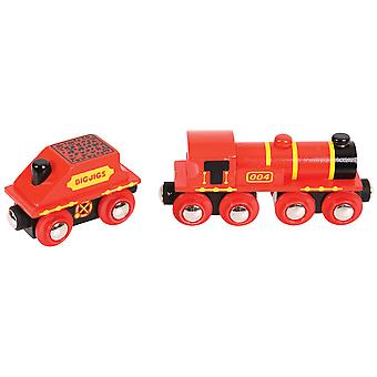 Bigjigs Rail Big Red Engine - Other Major Wooden Rail Brands are Compatible