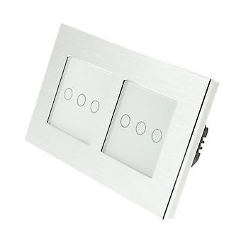 I LumoS Silver Brushed Aluminium Double Frame 6 Gang 1 Way Remote Touch LED Light Switch White Insert