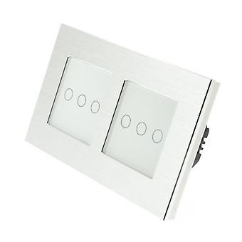 Я LumoS серебряный матовый алюминий Двойная рамка 6 банды 2 путь сенсорным светодиодные переключения белой вставкой