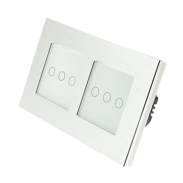 I LumoS argent Brushed Aluminium Double Frame 6 Gang 1 Way Remote Touch LED lumière Switch blanc Insert