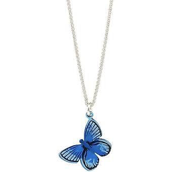 Ti2 Titanium Woodland Large Butterfly Pendant - Blue