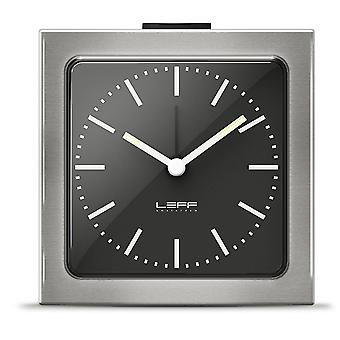 LEFF Amsterdam 8.5 x 8.5 x 6 cm Stainless Steel Block Alarm Clock in Silver Black Face