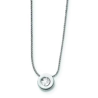Sterling Silver Charm van de solide gepolijst Cubic Zirconia op Chain ketting - 16 Inch - springslot