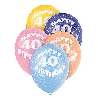 Unieke partij geassorteerde Gelukkige 40ste verjaardagsballons Latex (pakje van 5)