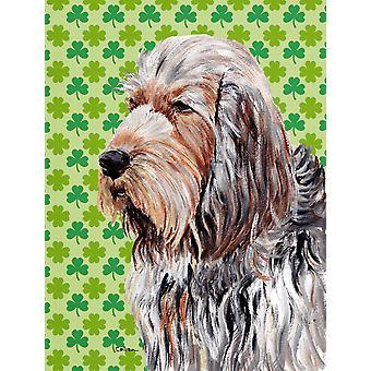 Otterhound heldig Shamrock St. Patrick's Day flagg hage størrelse