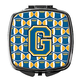 Carolines Treasures  CJ1077-GSCM Letter G Football Blue and Gold Compact Mirror