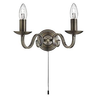 Searchlight 1502-2AB Richmond Wall Light in Antique Brass Finish