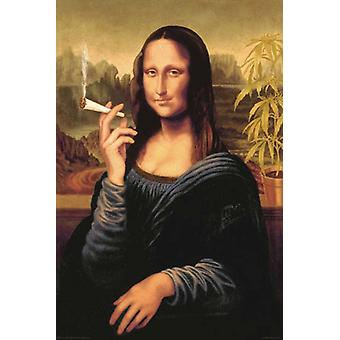 Mona Lisa with a Joint Poster Poster Print