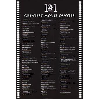 101 grootste Movie Quotes Poster Poster Print