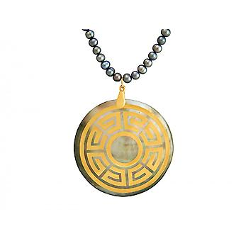 Gemshine - ladies - necklace - pendant - Locket - pearls - mother of Pearl - gold plated - bronze - grey - Tahiti - 5 cm