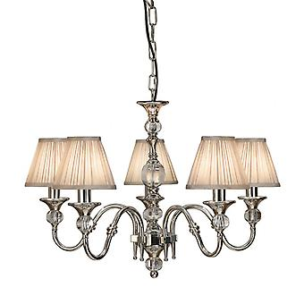 Polina Nickel Five Light Ceiling Pendant With Beige Shades - Interiors 1900 63580