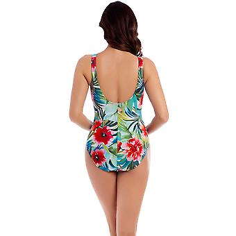 Miraclesuit 6511069 Women's Belle Rives Charmer Green Floral Print Shaping Swimsuit