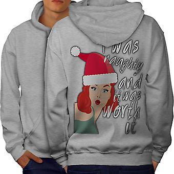 Naughty Girl Christmas Men GreyHoodie Back | Wellcoda