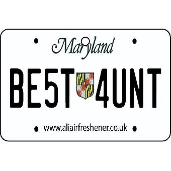 Maryland - Best Aunt License Plate Car Air Freshener