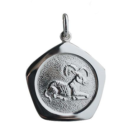 Silver 21mm five sided Aries Zodiac Pendant