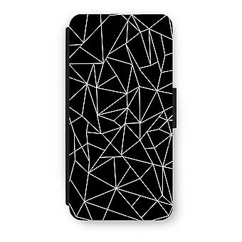 iPhone 7 Flip Case - geometriska linjer vit
