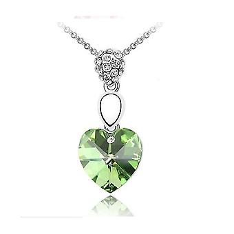 Womens Green Gemstone Chain Crystal Heart Necklace Pendant Jewelry