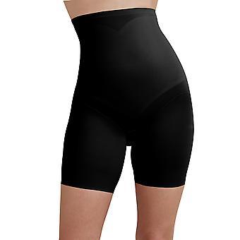 Cupid 2179-E kvinners svart farge firma/Medium kontroll slanking forme høy midje lang etappe kort