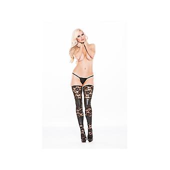 Allure Lingerie AL-7-8502K Lace & Wet Look Tights