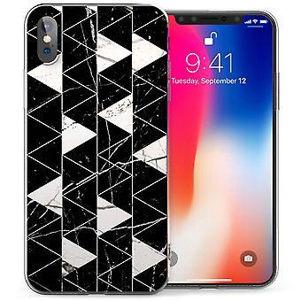 iPhonegeval X marmer geometrische driehoeken TPU Gel - zwart / wit