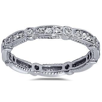 3 / 8ct diamant Eernity Vintage Bröllop stapelbar Ring 14K vitt guld