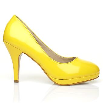 CHIP Yellow Patent Leather Pumps Mid-High Heel Low Platform Office Court Shoes
