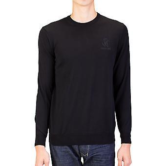 Roberto Cavalli mænds Crew Neck uld trøje sort