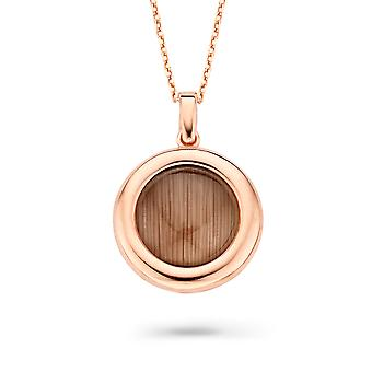 Orphelia Silver 925 Chain With Pendant Round Rosegold Plated Brown Zirconium  ZH-7197/BR