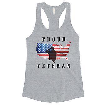 Proud Veteran Daughter Shirt Womens Grey Cute 4th of July Tank Top
