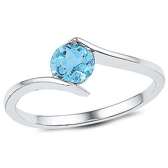 7/8 Carat (ctw) Lab Created Blue Topaz Solitaire Ring in 10K White Gold