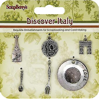 Scrapberry's Discover Italy Metal Charms-Silver Wine, Metal, Arch, Plate, Etc.