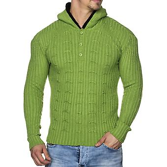 Tazzio fashion mens knitted sweater with hood Green