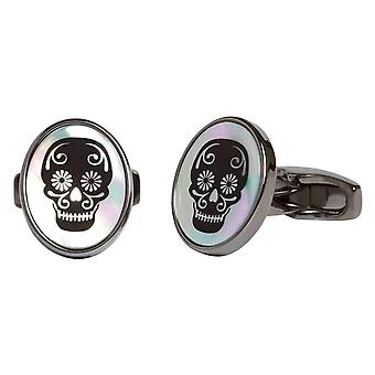 Simon Carter Mother of Pearl Sugar Skull Cufflinks - Black/White