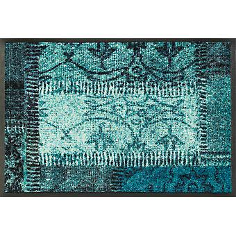 wash + dry dirt mat of vintage patches turquoise washable floor mat