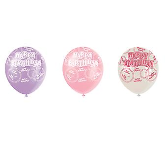 SALE - 6 Pink Glitz Pearlized Latex Balloons - Happy Birthday