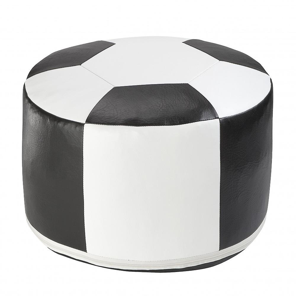 sitzkissen schwarz Ø Cm 50 Weiss Fußball 34 6300301 Kunstleder 2DI9WEH